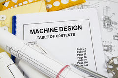 Machine design. Guide brochure with blueprint and pencil Stock Photos