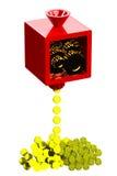 Machine die tot gouden die muntstukken leiden op witte achtergrond worden geïsoleerd Royalty-vrije Stock Fotografie