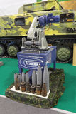 Machine for the disposal of ammunition. NIZHNY TAGIL, RUSSIA - SEP 26, 2013: The international exhibition of armament, military equipment and ammunition RUSSIA Stock Photos