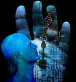 Machine DNA. With clock electronic Stock Image