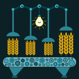 Machine with Ears of wheat in a suitcase in a dark room. Under the electric lamp. Processing of grain. Investments in agriculture royalty free illustration