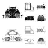 Machine, equipment, spinning, and other web icon in black,outline style., Appliances, inventory, textiles icons in set. Machine, equipment, spinning, and other Royalty Free Stock Photos