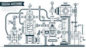 Machine fantastique complexe de steampunk illustration stock