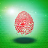 Machine Fingerprint. Machine Language of Binary and Fingerprint Royalty Free Stock Image