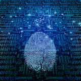 Machine Fingerprint. Machine Language, Printed Circuit and Fingerprint Stock Photos