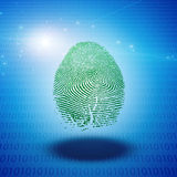 Machine Fingerprint. Fingerprint floats above binary code Royalty Free Stock Photo