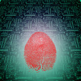 Machine Fingerprint. Machine Green Circuit Red Fingerprint Stock Image