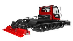 Machine For Clearing The Ski Slopes On A White Isolated Background. 3d Rendering. Stock Image