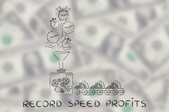 Machine with funnel turning clocks into cash, record speed profi Royalty Free Stock Images