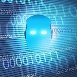 Machine futuriste de style moderne et ?tude profonde, concept de construction d'intelligence artificielle avec le peu du code 3D  illustration libre de droits