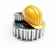 Machine gear construction helmet. On a white background Royalty Free Stock Image