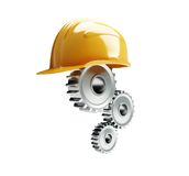 Machine gear construction helmet Royalty Free Stock Photos