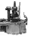 Machine gearbox. On black and white royalty free stock photos
