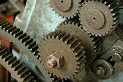 Machine Gears cogs. Gears of an old lathe stock image