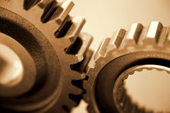 Machine gears or cogs. Two machine gears or cogs working together Royalty Free Stock Photography