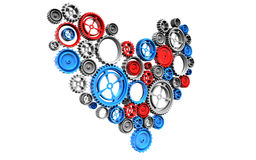Machine Gears heart Stock Images