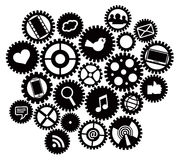 Machine gears with Social Media Symbols Royalty Free Stock Images