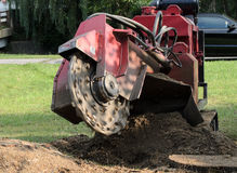 Machine Grinding Tree Stump Stock Photography