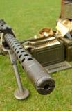 Machine gun. Looking down the barrel of a machine gun Royalty Free Stock Photos