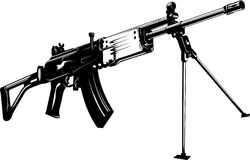 Machine gun. Vector illustration of a machine gun black and white Royalty Free Stock Photos
