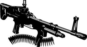 Machine gun. Vector illustration of a machine gun and machine-gun tape. Black and white Stock Image
