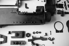 Machine gun. Disassembled parts of a World War Two Machine gun Stock Photos