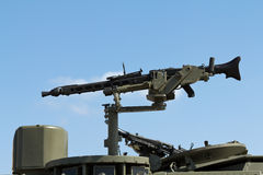 Machine Gun. Mounted on a military vehicle Royalty Free Stock Images