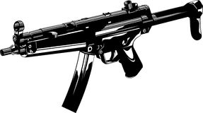 Machine gun. Vector illustration of a machine gun black adn white Stock Photography