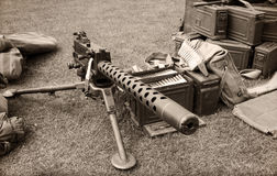 Machine gun and ammo boxes Stock Image