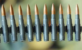 Machine gun bullets during a war patrol of the army Royalty Free Stock Image