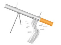 Machine gun - cigarette. Machihe gun made of cigarette on a pure background Stock Photos
