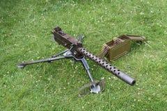 Machine Gun. A Classic Military Machine Gun with Ammunition Stock Images