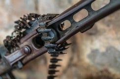 Machine gun on display. Detail of an old disused machine gun used in Balkan war in Serbia on display Stock Photography