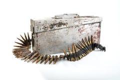 Machine-gun a fita com guerra de mundo dos cartuchos segundos Fotografia de Stock Royalty Free
