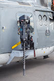 Machine gun on german  sea lynx  helicopter, on berlin air show Stock Photo