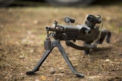 Machine gun on the ground Stock Photo