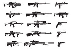 Machine gun and handgun, rifle pistol icons Stock Images
