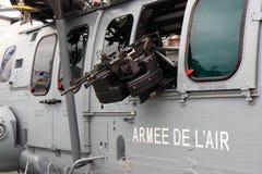 Machine gun on helicopter Stock Photos