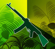 Machine Gun Jungle Shows Combat Asia And Security. Machine Gun Jungle Meaning Rain Forest And Automatic Stock Photo