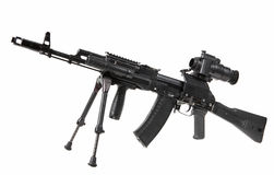 Machine gun Kalashnikov. On the tripod and optical sight royalty free stock photo