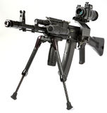 Machine gun Kalashnikov. On the tripod and optical sight stock photos