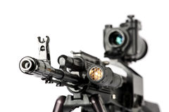Machine gun Kalashnikov. On the tripod and optical sight stock image