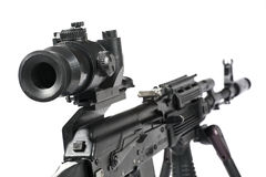 Machine gun Kalashnikov. On the tripod and optical sight royalty free stock image