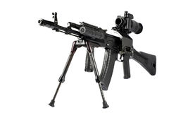 Machine gun Kalashnikov. On the tripod and optical sight royalty free stock photos