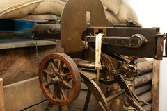 Machine gun maxim. View of machine gun maxim in a museum Royalty Free Stock Image