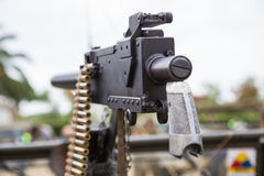 Machine gun. Mounted on a military vehicle Royalty Free Stock Image