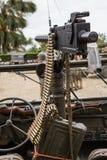 Machine gun. Mounted on a military vehicle Royalty Free Stock Photo