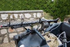 Machine gun. Mounted on a sidecar military Stock Photos