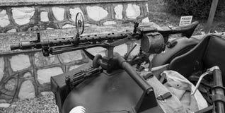 Machine gun. Mounted on a sidecar military Royalty Free Stock Photo