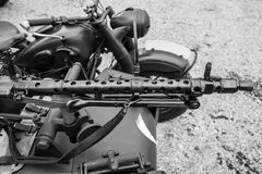 Machine gun. Mounted on a sidecar military Stock Image